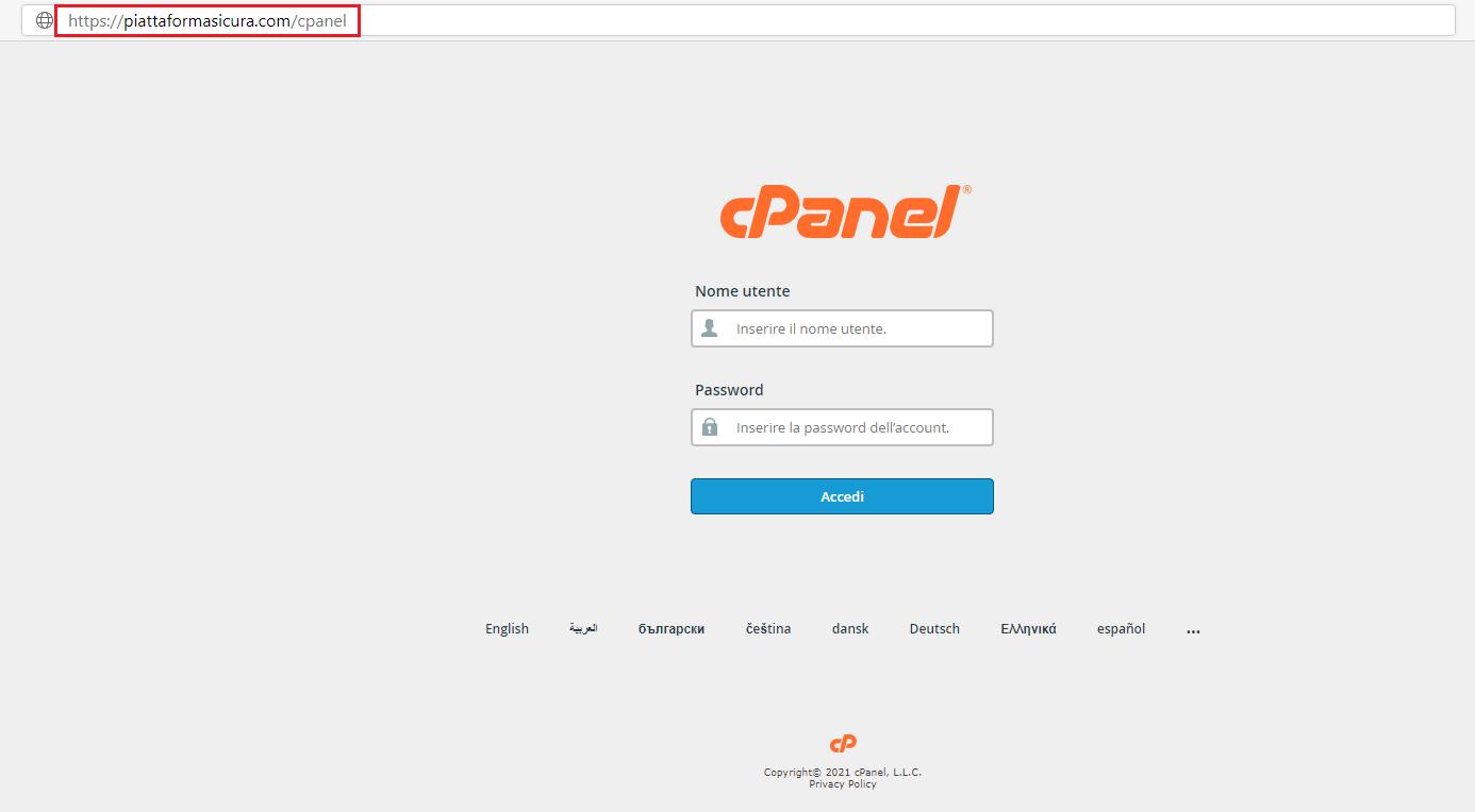 cPanel accesso