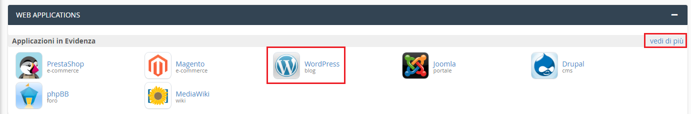installare wordpress su cpanel 2