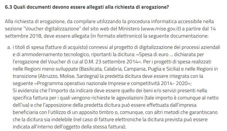 faq 6.3 Procedimento di erogazione Voucher digitalizzazione